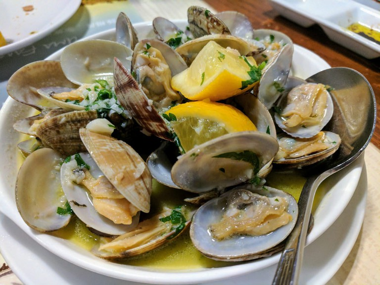 Portuguese cuisine relies heavily on seafood like clams