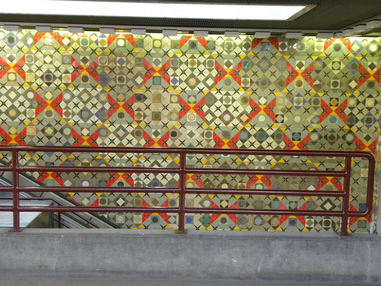 Farley Tobin's untitled tile work in the Detroit People Mover's Fort/Cass Station