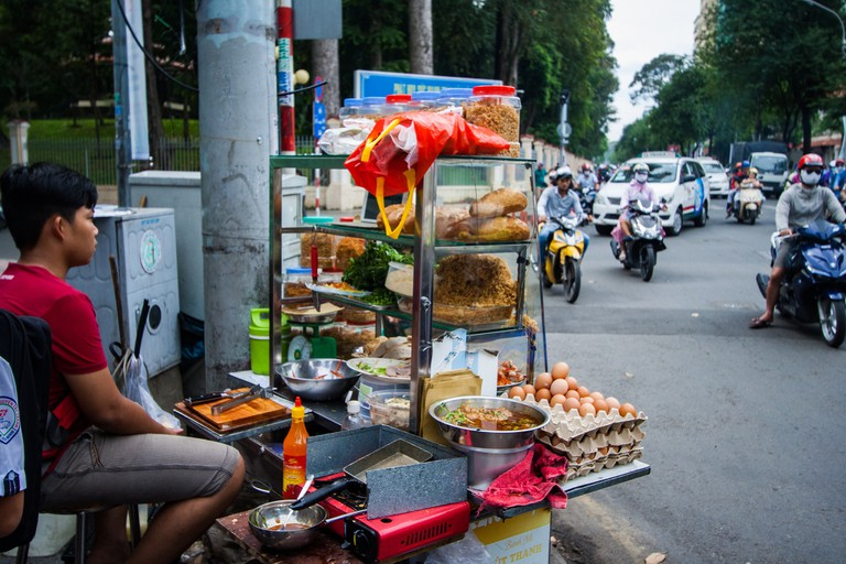A street food cart in Ho Chi Minh City