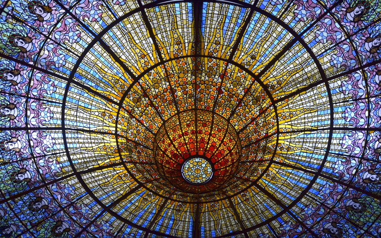 The stained-glass ceiling of the Palau de la Música Catalana