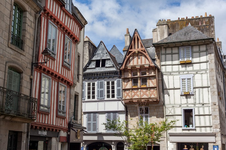 The timbered buildings in the old quarter of Quimper