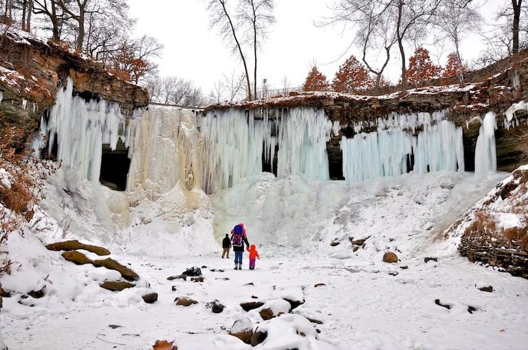 Minnehaha Falls frozen over for winter