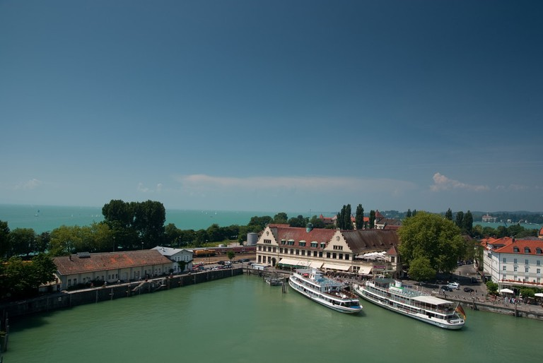 Two ferries moored at the Lindau Island Harbour on Lake Constance