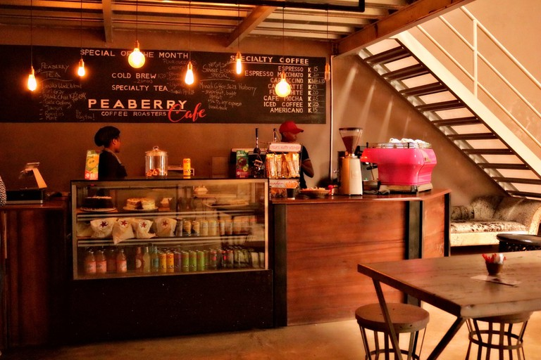The Peaberry Cafe roasts your coffee on the premises