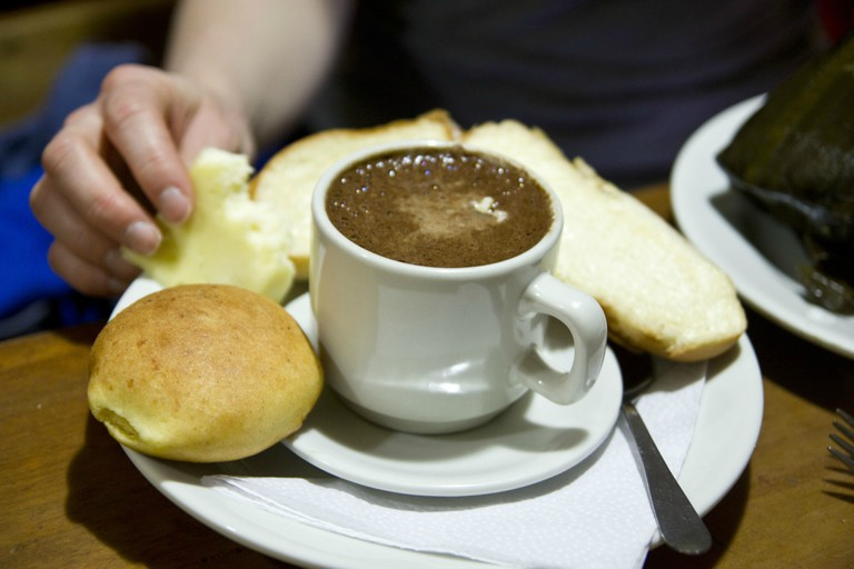 Hot chocolate and cheese in Bogotá