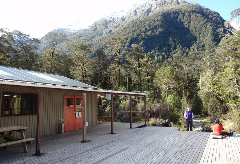 The Clinton Hut, the first rest stop on the Milford Track