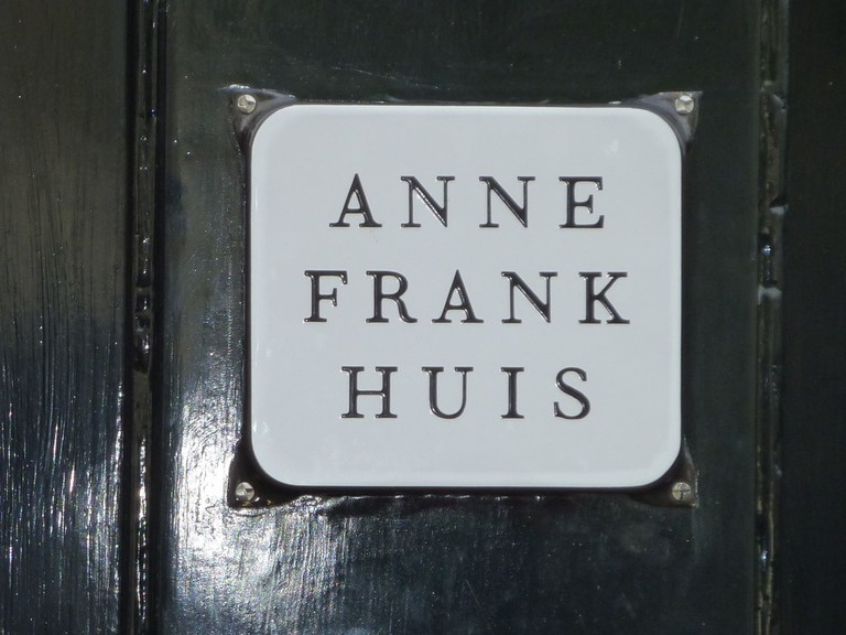 A plaque marking the entrance to Anne Frank House