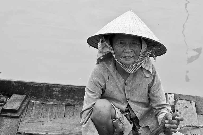 The famous conical hat seen in Vietnam