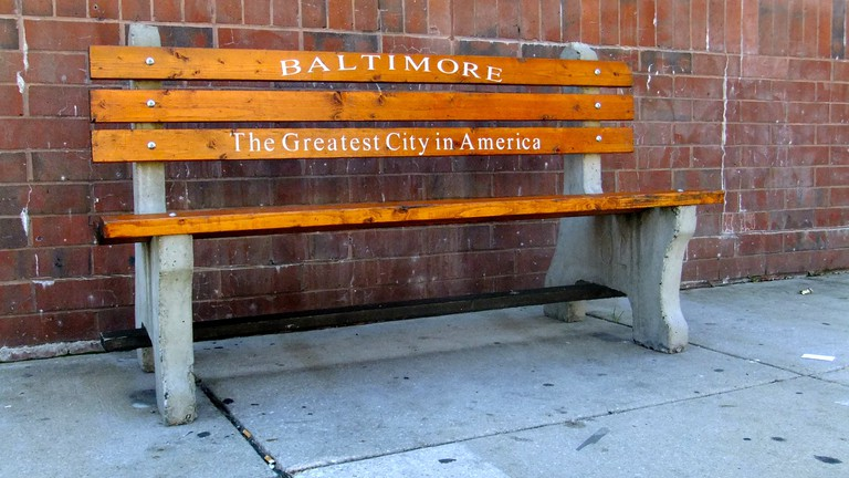 Baltimore bench, Greatest City in America, Baltimore, Maryland