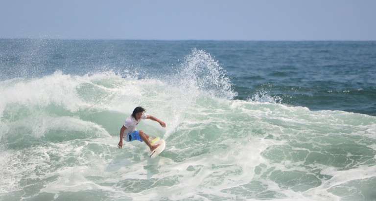 Surfing at Playa El Zonte, El Salvador