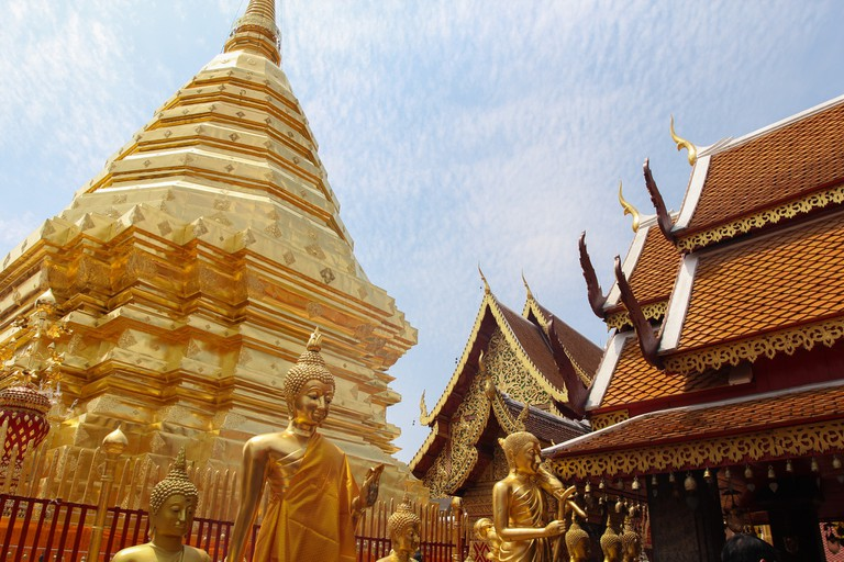 The golden pagoda of Wat Phrathat Doi Suthep