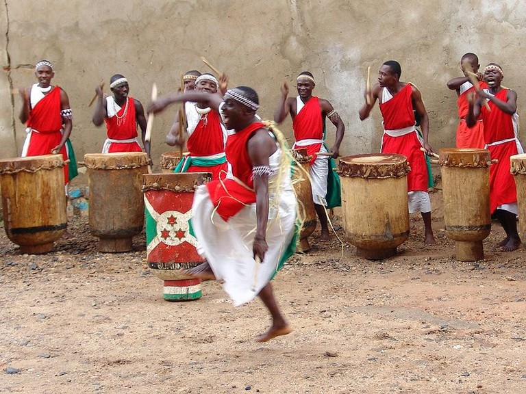 The royal drummers of Burundi during an energetic performance
