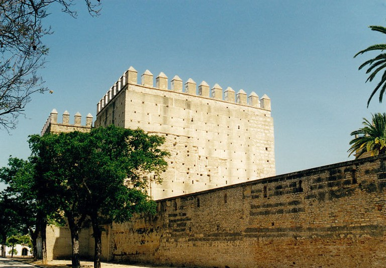 The defensive walls and towers of the Alcazar of Jerez