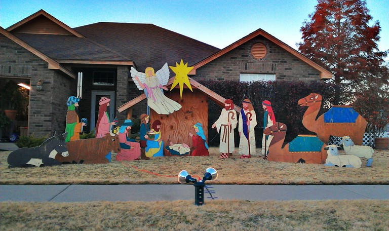 Giant outdoor nativity scene with the Three Kings