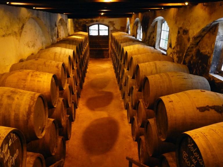 Sherry barrels at the Gonzalez Byass bodega
