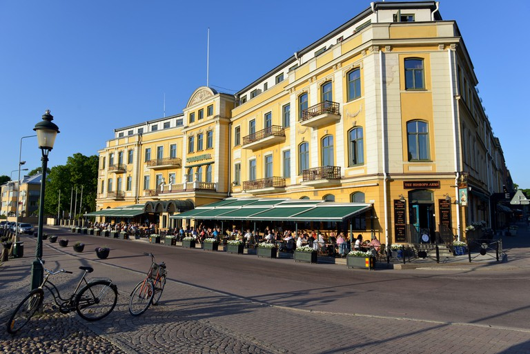 People love sitting outside for fika in Karlstad