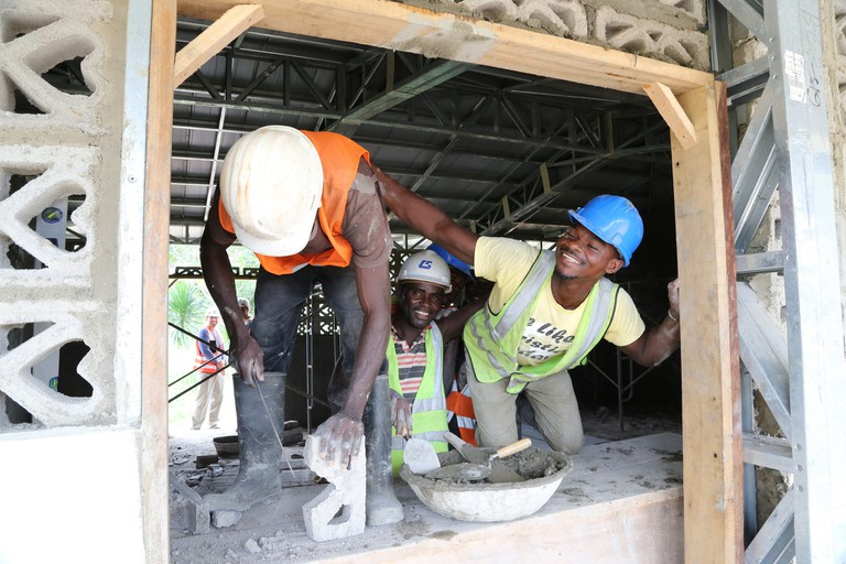 Masons at work in Grumesa, Ghana