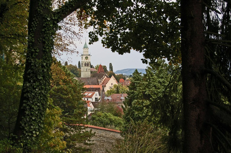 A view of Überlingen from between the forest trees