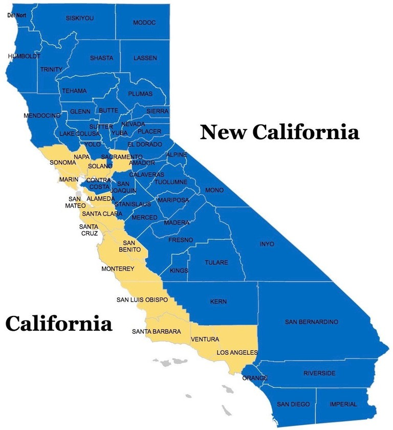 A map of the counties that would make up New California