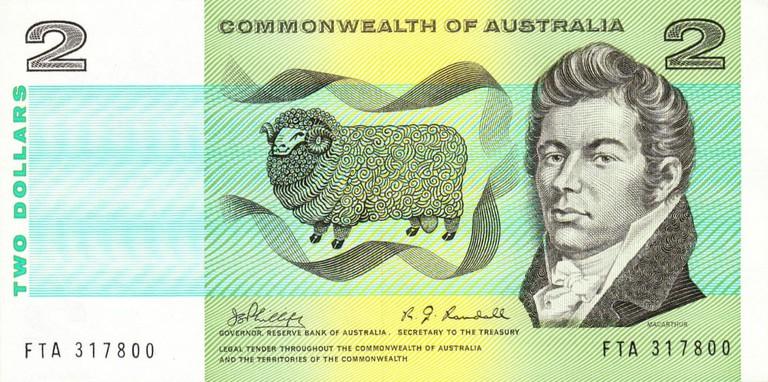 An original Australian $2 banknote featuring wool pioneer John Macarthur © Montecuccoli07 / Wikimedia Commons