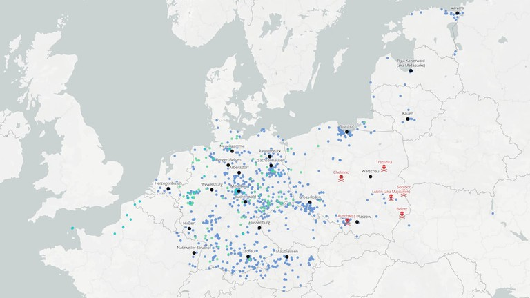 'The Blue Skies Project,' map of concentration camps