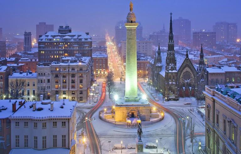 Washington Monument, Mount Vernon, Baltimore, Maryland, Winter