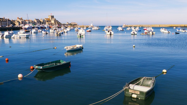 Fishing boats bobbing around the Barfleur port