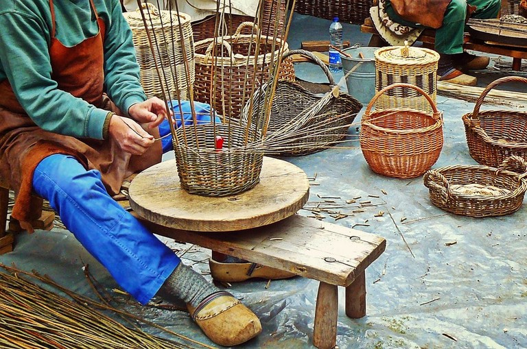 Wicker basket weaving