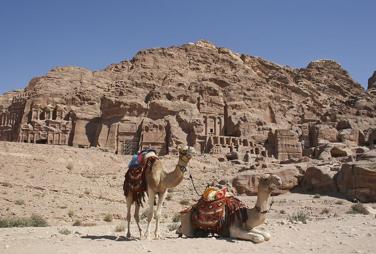 Camels_Royal_tombs_Petra_Jordan