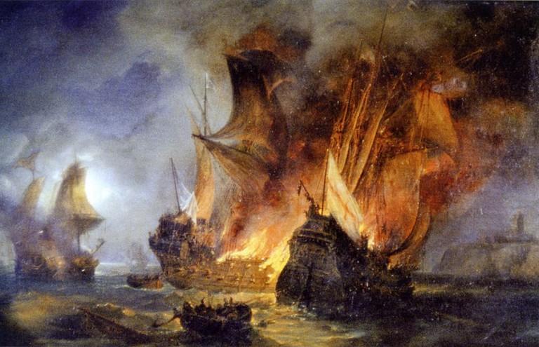 Pierre-Julien Gilbert's Combat de la Cordelière, 1838   © Public Domain / WikiCommons