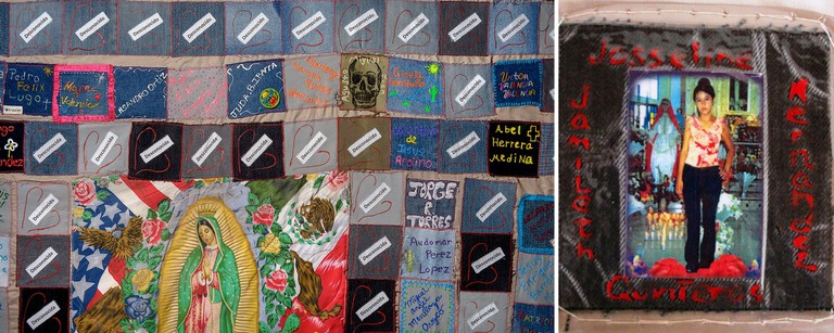 Details from the TUCSON SECTOR 2007-2008 quilt, 183 deaths, made by Nancy Amann and Toni Gorden of Baltimore, Maryland, with Douglas High School students of Douglas, Arizona