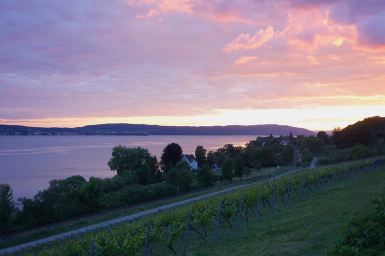 The colourful view of Lake Constance's sunset from Birnau Church