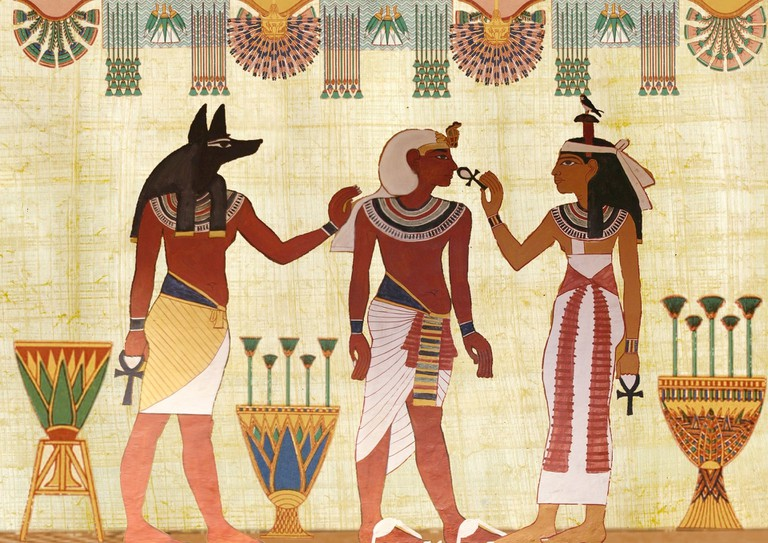 Pharaonic scene on papyrus scroll