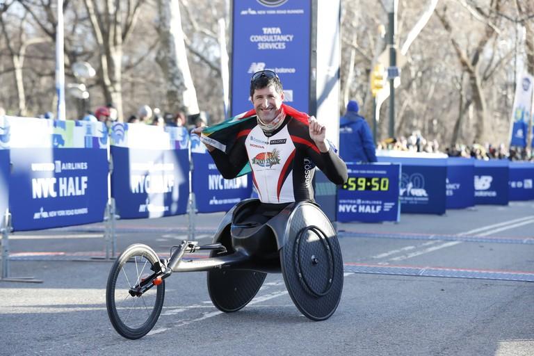 Ernst van Dyk won his fourth-straight NYC Half men's wheelchair division title in March