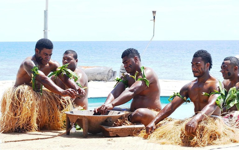 Fijian kava ceremony being performed for tourists