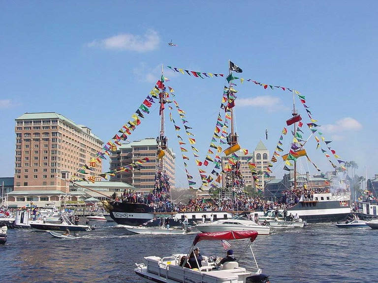 Pirate Ship Invasion at Annual Gasparilla Festival in Tampa