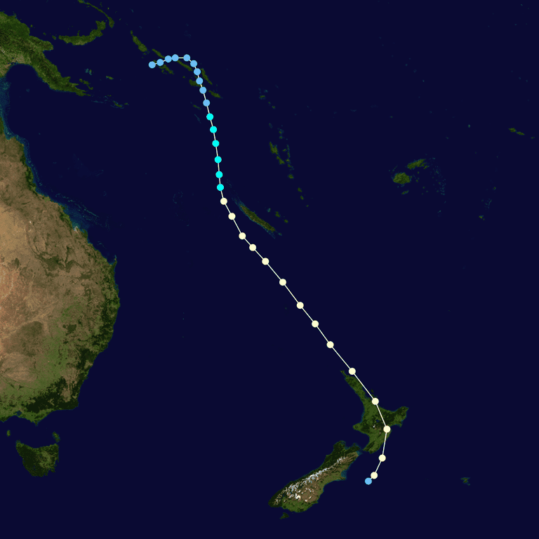 A map tracing the trajectory of Cyclone Giselle in 1968