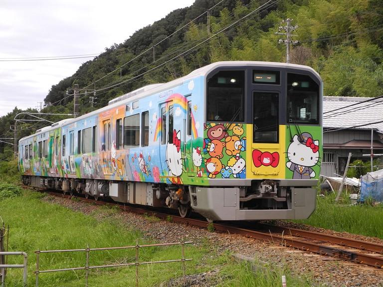 "The ""Hello Kitty"" Wakayama train operating on the JR West Kinokuni Line, Japan"