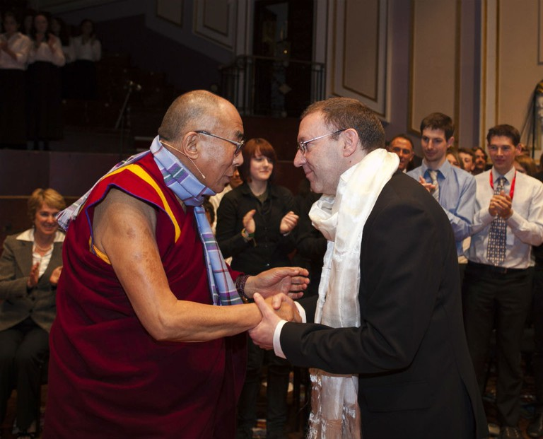 His Holiness The Dalai Lama And Victor Spence Exchange Scarves, Scotland, 2012