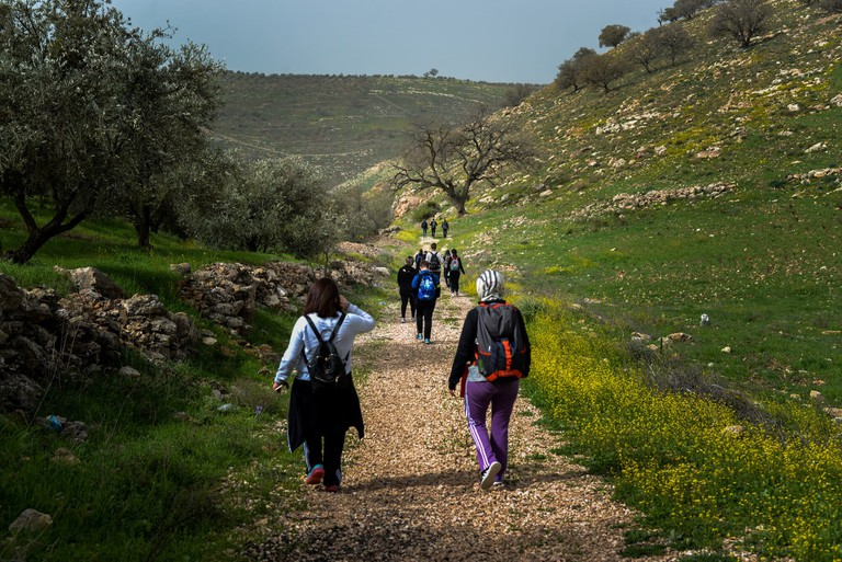 A Zone-Out Outdoors group hike in Pella, Jordan