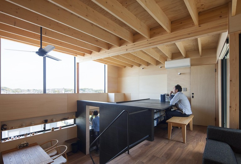 The built-in office space enjoys views over the city