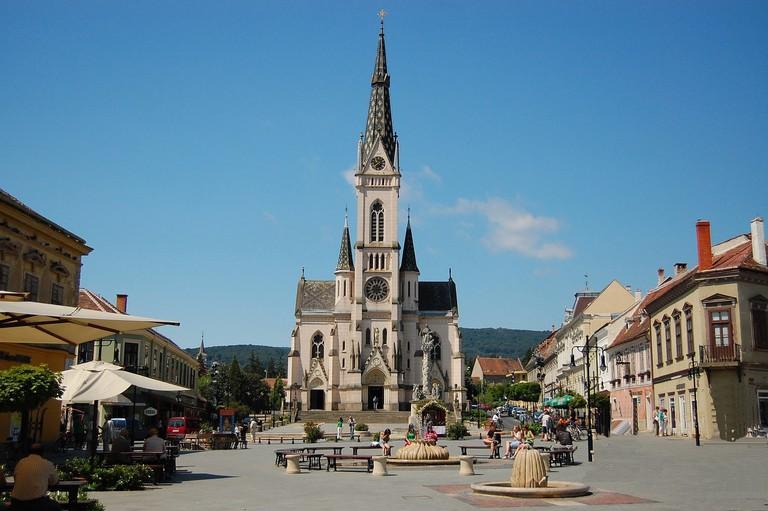 The main square in Kőszeg, Hungary