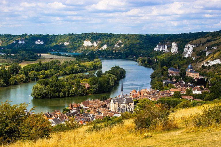 A view of Les Andelys and the Seine river from Chateau Gaillard