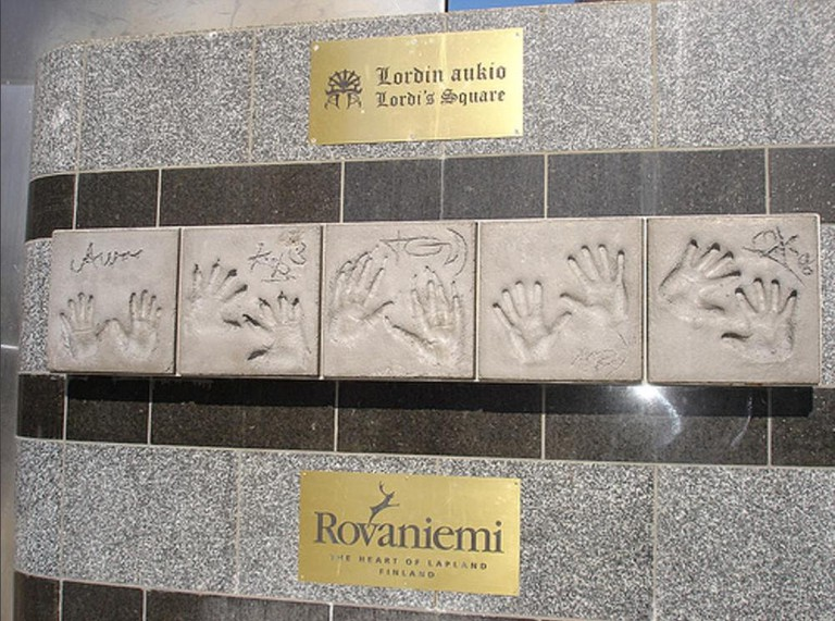 Handprints of the Lordi band members in Lordi Square.