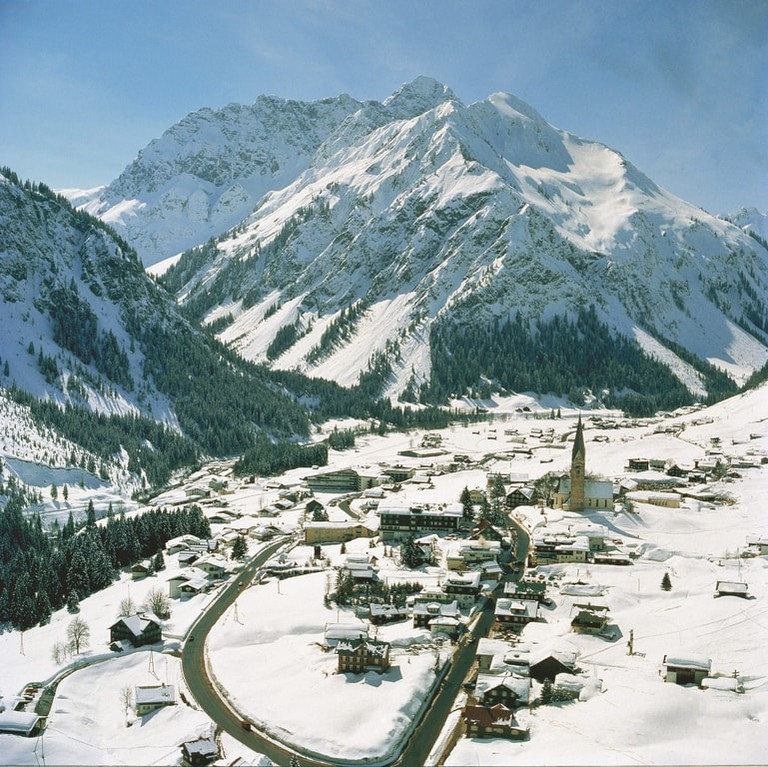The nearby town of Kleinwalsertal covered in snow