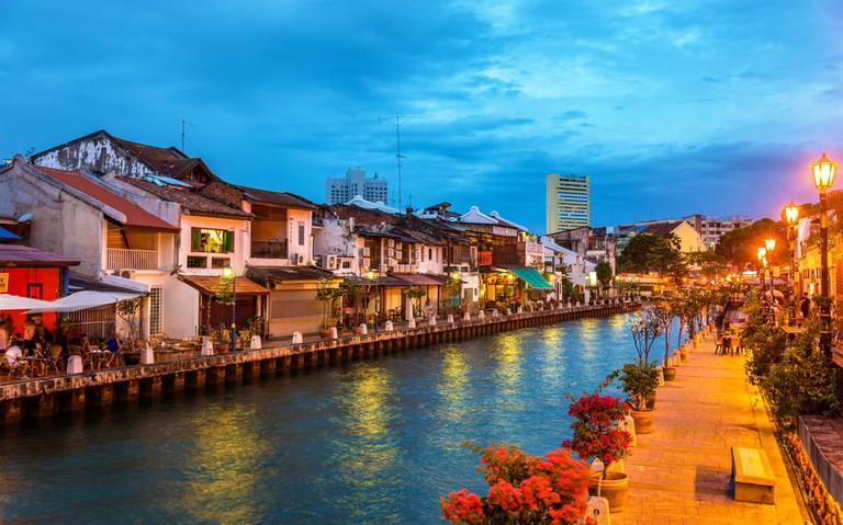 The Malacca River in all its beauty at sunset