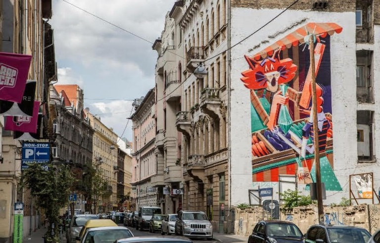 Artist Vidam created this mural in downtown Budapest