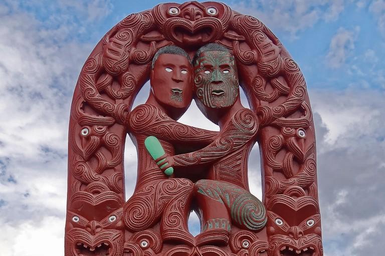 Traditional Maori wood carving at Te Puia, Rotorua, New Zealand