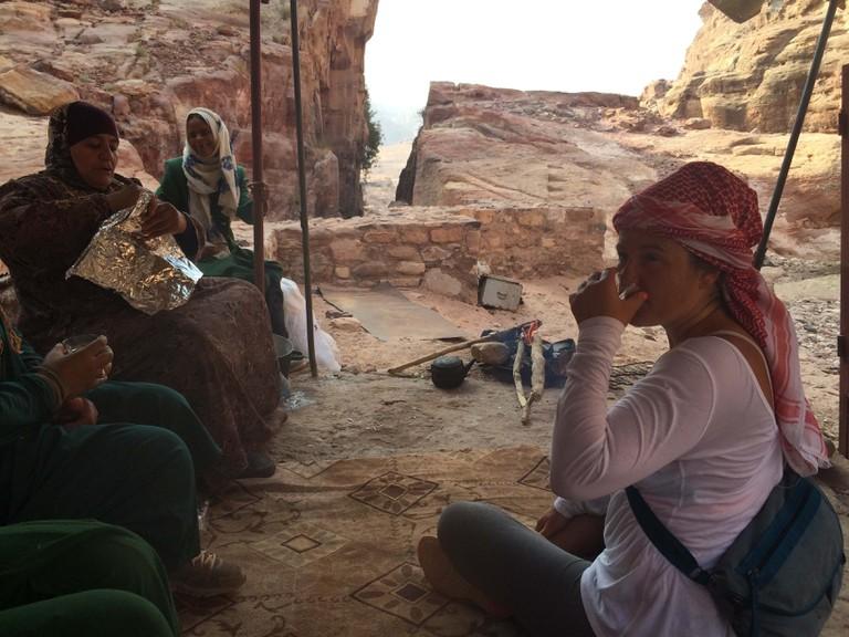 Having tea in a Bedouin tent in Petra, Jordan