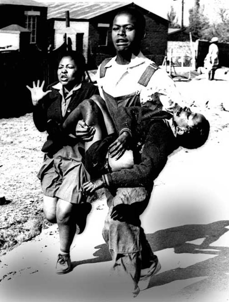 Photo by Sam Nzima displayed on Hector's memorial in Soweto